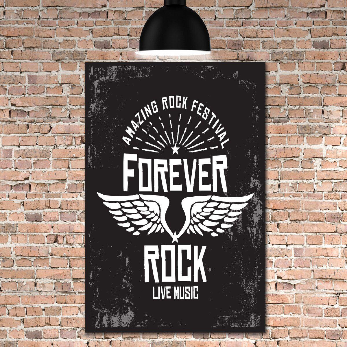 Placa Decorativa MDF Rock forever